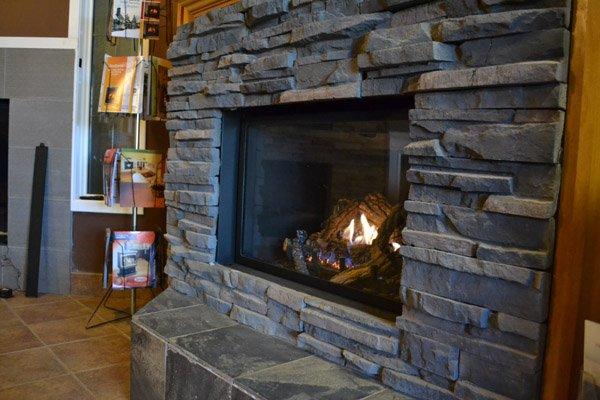 Kingsman gas fireplace in Alberta Wholesale Fireplaces showroom
