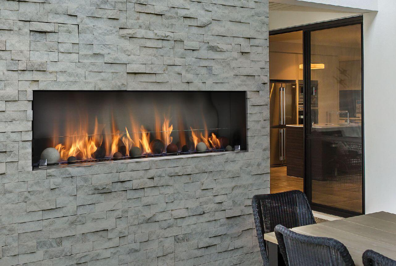 Barbara Jean linear outdoor fireplace