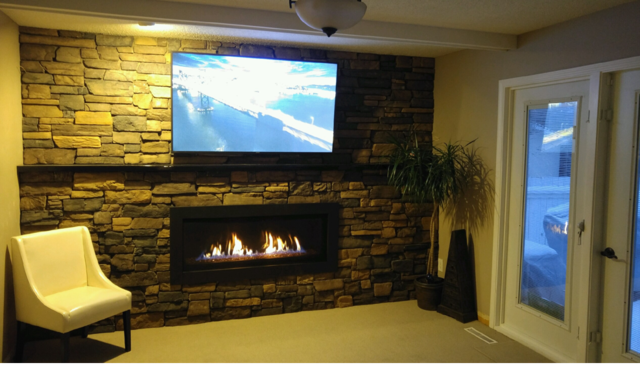 Savannah Heating electric fireplace installed in an entertainment room
